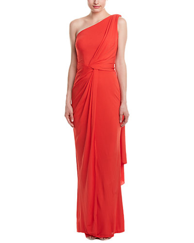 David Meister One Shoulder Draped Jersey Gown With Sash
