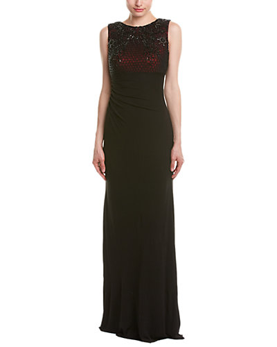 David Meister Stretch Jersey Gown With Beaded Bodice Lined In Red