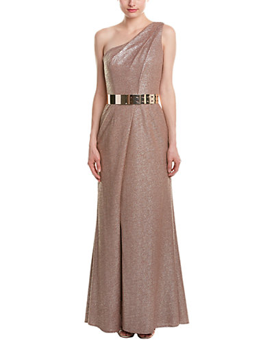 David Meister One Shoulder Stretch Gown With Belt