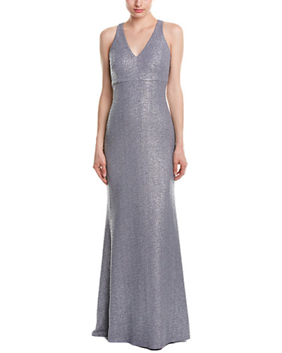 David Meister Stretch Metallic Gown With Cut Out Back