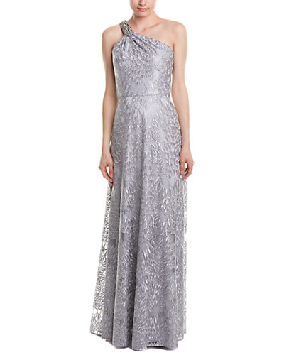 David Meister One Shoulder Embroidered Gown With Beaded Trim