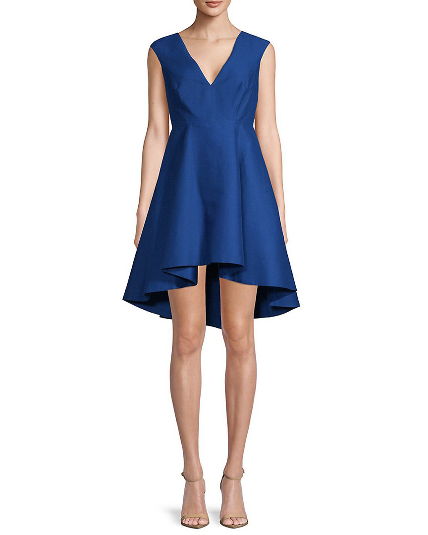 Halston Heritage Silks SOLID ASYMMETRIC DRESS