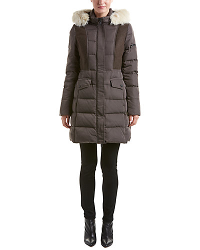 7 For All Mankind Quilted Wool-Blend Down Coat