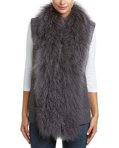 Haute Hippie Mongolian Collar Knit Wool Vest