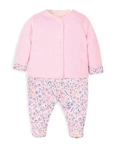 Rue La La — JoJo Maman Bébé 2pc Velour Jacket & Sleepsuit Set