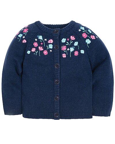 Rue La La — JoJo Maman Bébé Pretty Embroidered Wool-Blend Cardigan