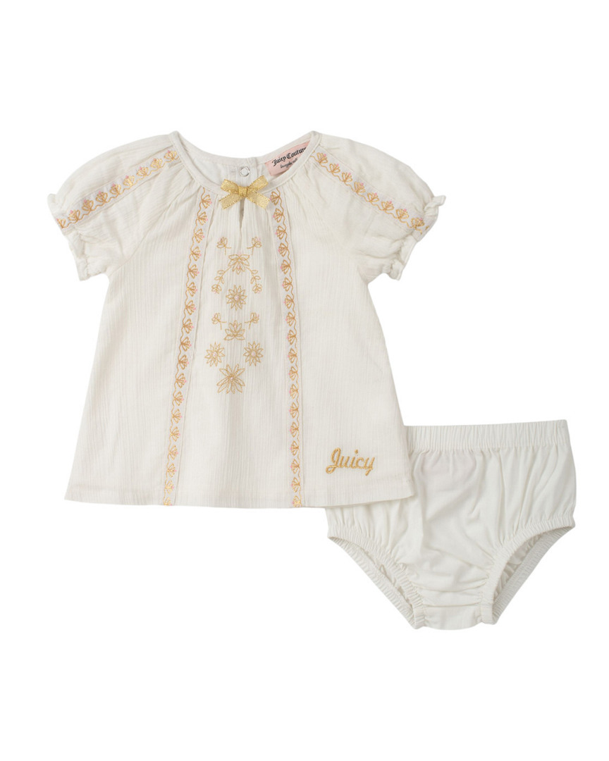 METALLIC TRIMMED DRESS & BLOOMER SET