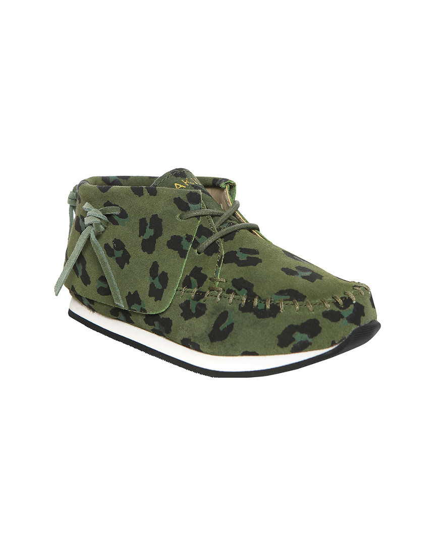 STONE LEOPARD SUEDE MOCCASIN
