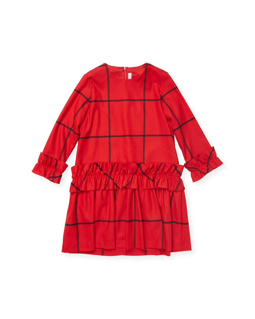 RUFFLED CREWNECK DRESS