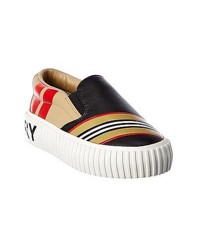 Rue La La — Burberry Icon Stripe Leather Sneaker