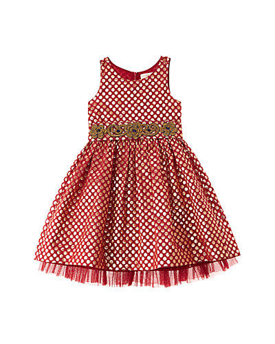 Cupcake & Pastries Girls' Marsala Brocade Dress