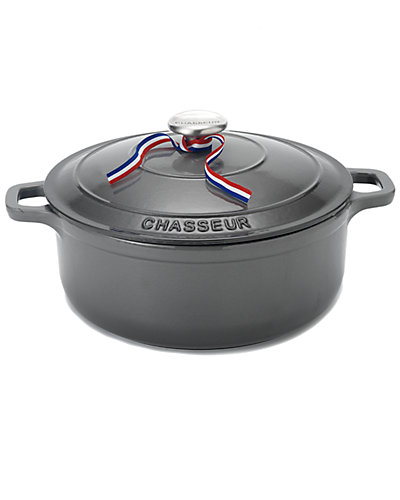 Chasseur 5.5qt Caviar-Grey Enameled Cast Iron Dutch Oven