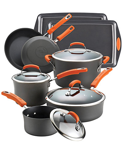 Rachael Ray 12pc Hard-Anodized Nonstick Cookware Set