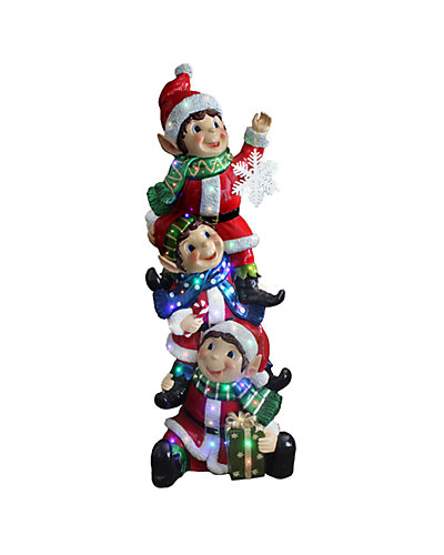 5ft Pre-Lit Stacked Elves Decoration