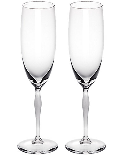 Lalique 100 Points Set of Two 6.76oz Champagne Flutes