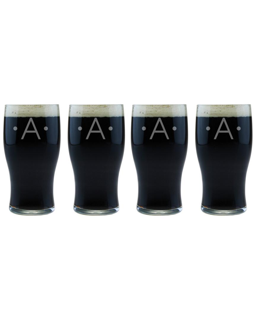 Susquehanna Ser Of Four Dot Monogram Classic Pub Glasses photo