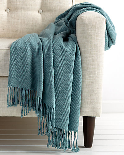 Lake Cashmere & Wool Blend Chevron Throw