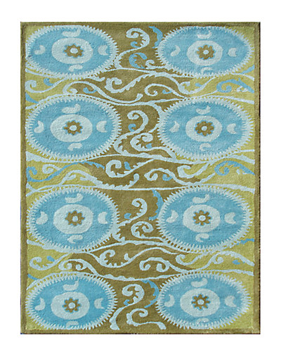Suzani Tile Blue Tufted Rug