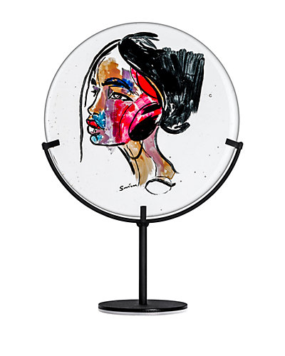 Kosta Boda Face Of Color Plate With Stand