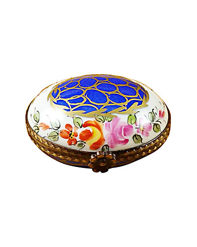Rochard Limoges Blue Oval with Gold Circles Box