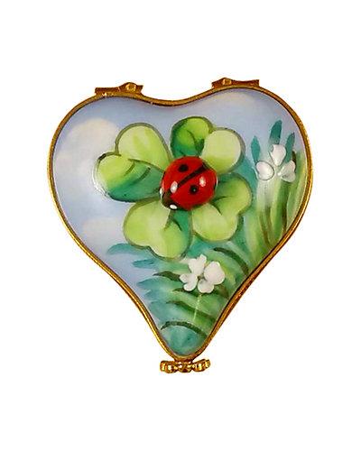 Rochard Limoges Ladybug On Heart Box