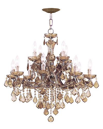 Maria Theresa 12-Light Golden Teak Crystal Chandelier