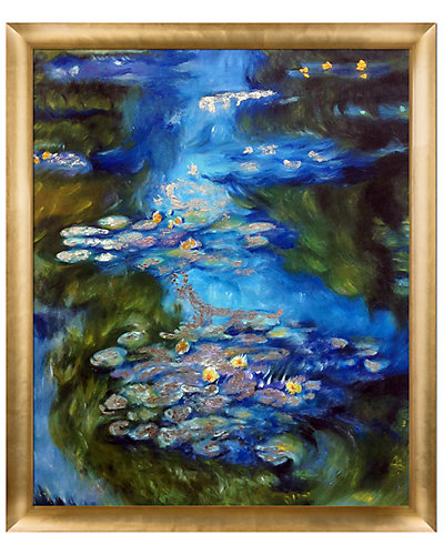 Water Lilies, Blue and Green, Metallic Embellished by Claude Monet