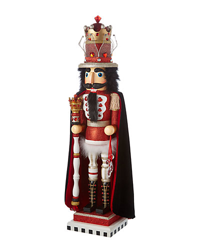 35in Hollywood Red and White King Nutcracker with Wire Crown