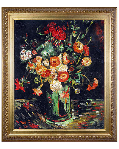 Vase with Zinnias and Geraniums by Vincent Van Gogh Oil Reproduction