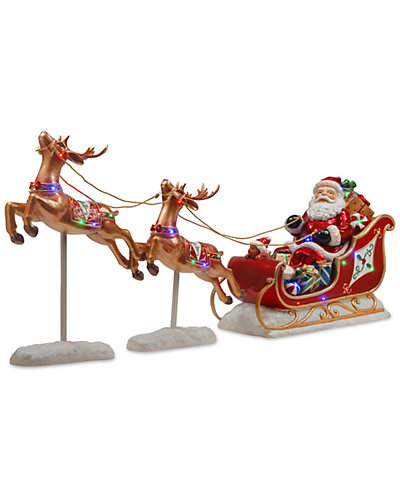 3x30in Reindeer Pulling 23in Sleigh with Santa