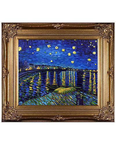 Starry Night Over the Rhone Metallic Embellished by Vincent Van Gogh Reproduction