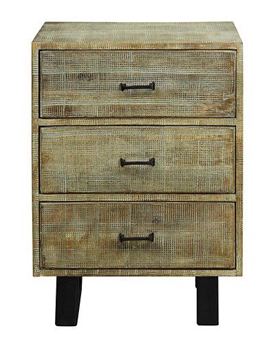 Solid Mango Wood Three Drawer Side Table