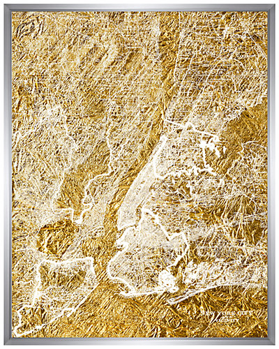 Shadowbox Framed Gold NY City Silkscreen Print