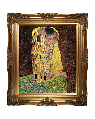 The Kiss Fullview (Metallic Embelished) by Gustav Klimt Oil Reproduction