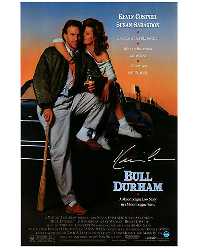 Kevin Costner Signed Bull Durham Movie Poster  by Steiner Sports