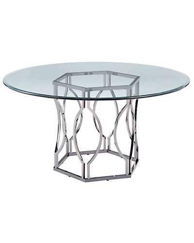 Alexander Nickel Plated Glass Top Dining Table