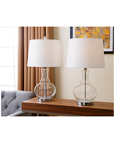 Set Of Two 24.5in Ellis Clear Glass Table Lamps