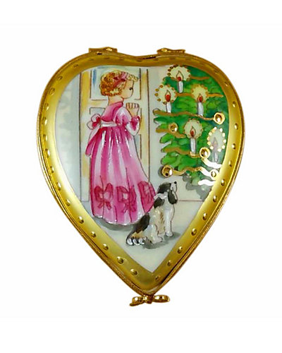 Rochard Limoges Studio Collection Heart Little Girl Puppy & Christ