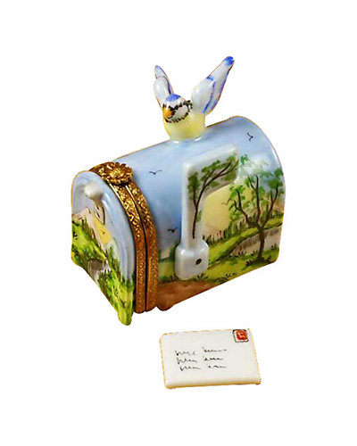 Rochard Limoges Mailbox With Landscape & Removable Letter
