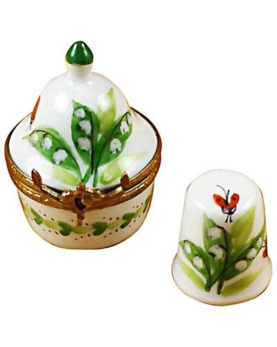 Rochard Limoges Lilies Thimble Box