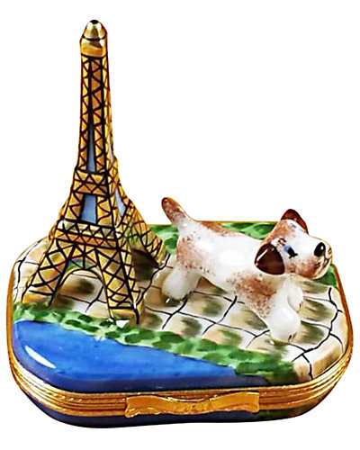 Rochard Limoges Eiffel Tower with Jack Russell Terrier