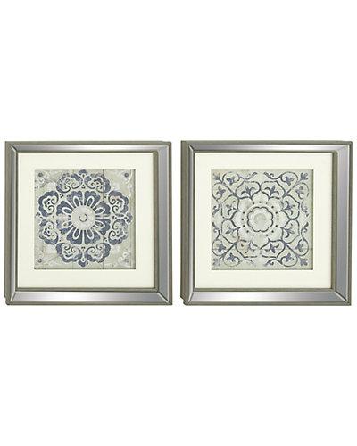 Set of Two Wood Mirror Framed Art