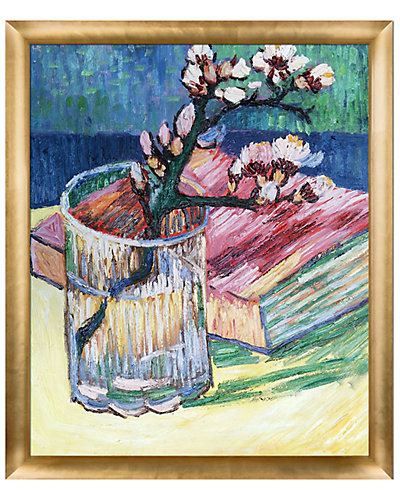 Blossoming Almond Branch in a Glass with a Book 1888 by Vincent Van Gogh Oil Reproduction