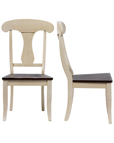 Set of 2 Napoleon Chic Country Cottage Oak Wood Dining Chair