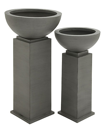 Set of Two Metal Outdoor Planters