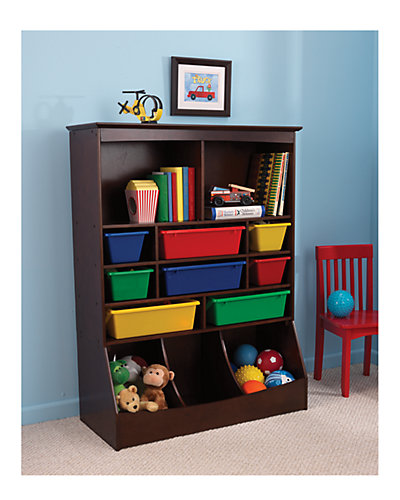 KidKraft Wall Storage Unit with plastic bins