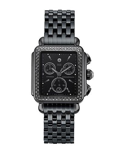 Michele Women's Deco Noir Diamond Watch