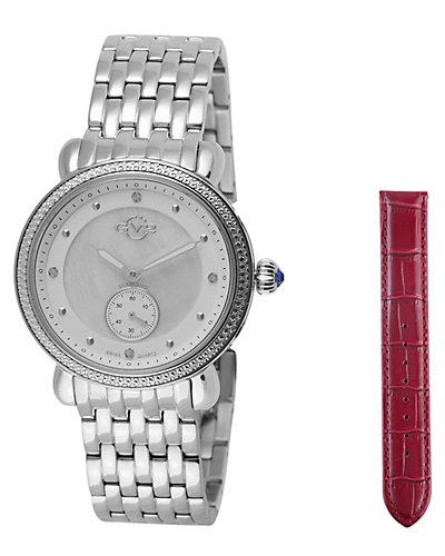 GV2 by Gevrill Women's Marsala Sub Eye Diamond Watch with Interchangeable Strap