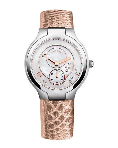Philip Stein Round Karung Snakeskin Diamond Watch - Small