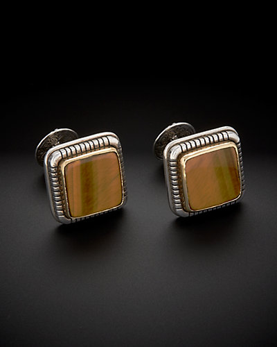 Konstantino 18K & Silver 20.00 ct. tw. Tiger's Eye Cufflinks